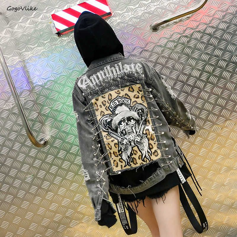 Skull Leopard Jean Jacket 2018 women Rock Punk Pins Chains Denim Coat Handsome Holes Vintage Coat Long Sleeve Graffiti LT687S40