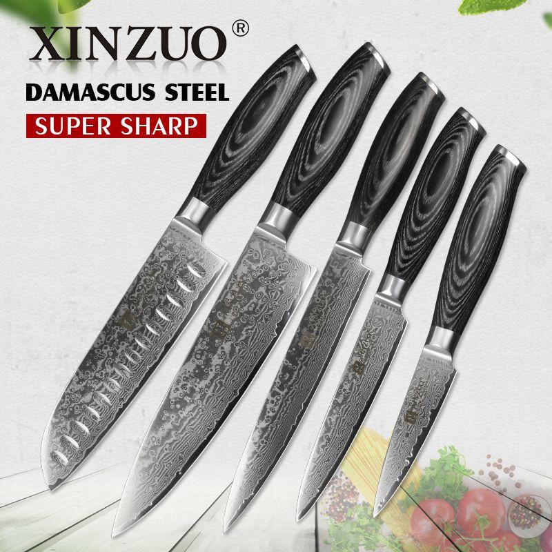 XINZUO 5 pièces Ensemble de Couteaux de Cuisine 67 couches Japonais VG10 de Chef En Acier Damas Couteau Santoku Utilitaire Couteau Manche En Bois Pakka