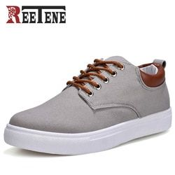 REETENE New Arrival Spring Summer Comfortable Casual Shoes Mens Canvas Shoes For Men Lace-Up Brand Fashion Flat Loafers Shoe