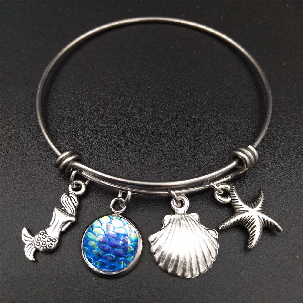 Stainless Steel Expandable Wire Bangle Beach Sea Mermaid Charm Bracelet DIY Handmade Jewelry Gift for Girls and Women