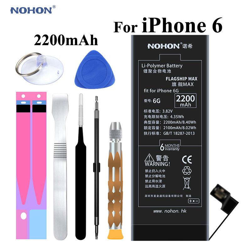 NOHON Original Mobile Battery for Apple iPhone 6 6G For iPhone6  High Capacity 2200mAh with Repair Tools Kit and Battery Sticker