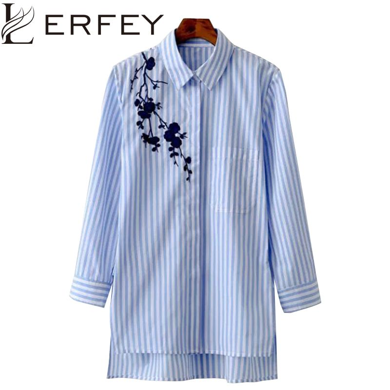 LERFEY Women Blouse Shirt Embroidery Female Blouses Shirts Casual <font><b>Striped</b></font> Spring Summer Vintage Tops Women Clothing Blusas