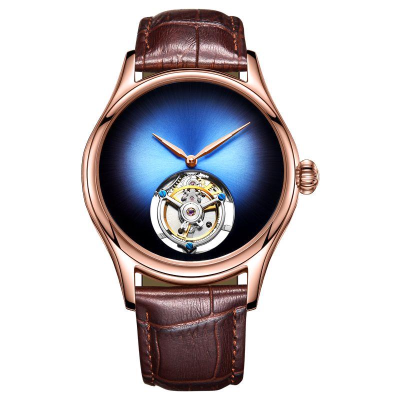 Top Marke Luxus Herren Mechanische Uhr Saphir Kristall Spiegel Original Tourbillon Hohl Bewegung Mechanische Uhr Männer der 2018