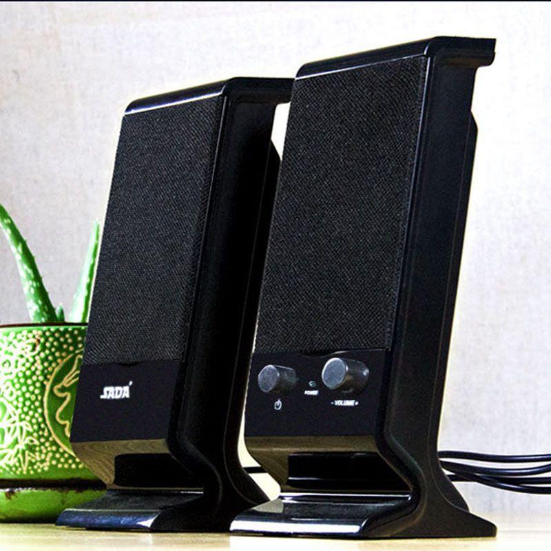 SADA V-112 Computer Speakers, 3.5mm USB Powered Subwoofer PC Speakers for Desktop Laptop Notebook, Pack of 2 (Orange)