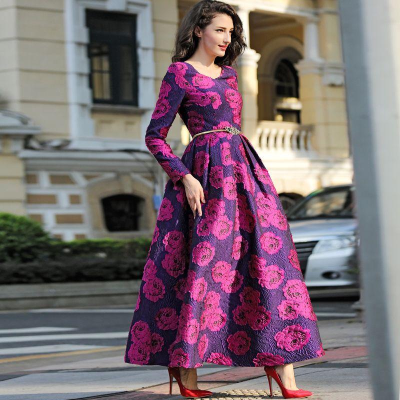 Grande taille haute qualité femmes élégantes à manches longues Maxi robe Boho Floral Jacquard robe de mode fête longue automne hiver robe