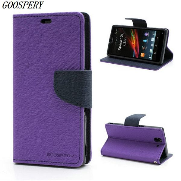 For Sony Xperia Z Case Mercury GOOSPERY Fancy Diary Wallet Style Leather Flip Case for Sony Xperia Z C6603 C6602 L36h HSPA+ LTE
