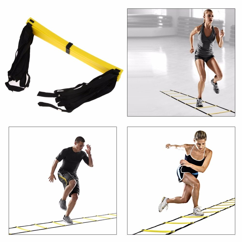 Football Training Agility Ladder 9 rung 16.5 Feet 5M Durable Nylon Straps Ladder for Soccer Speed Training Gym Fitness Tool