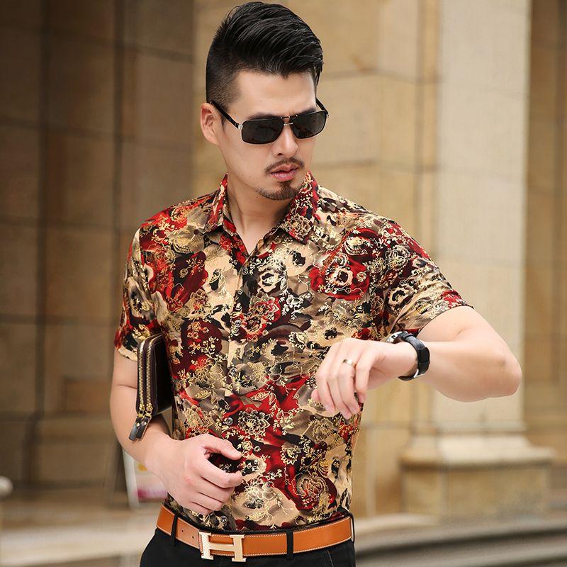 Floral Print Shirt Men 2017 Brand New Gold <font><b>Bronzing</b></font> Short Sleeve Chemise Homme Fancy Flower Mens Dress Shirts Camisa Masculina