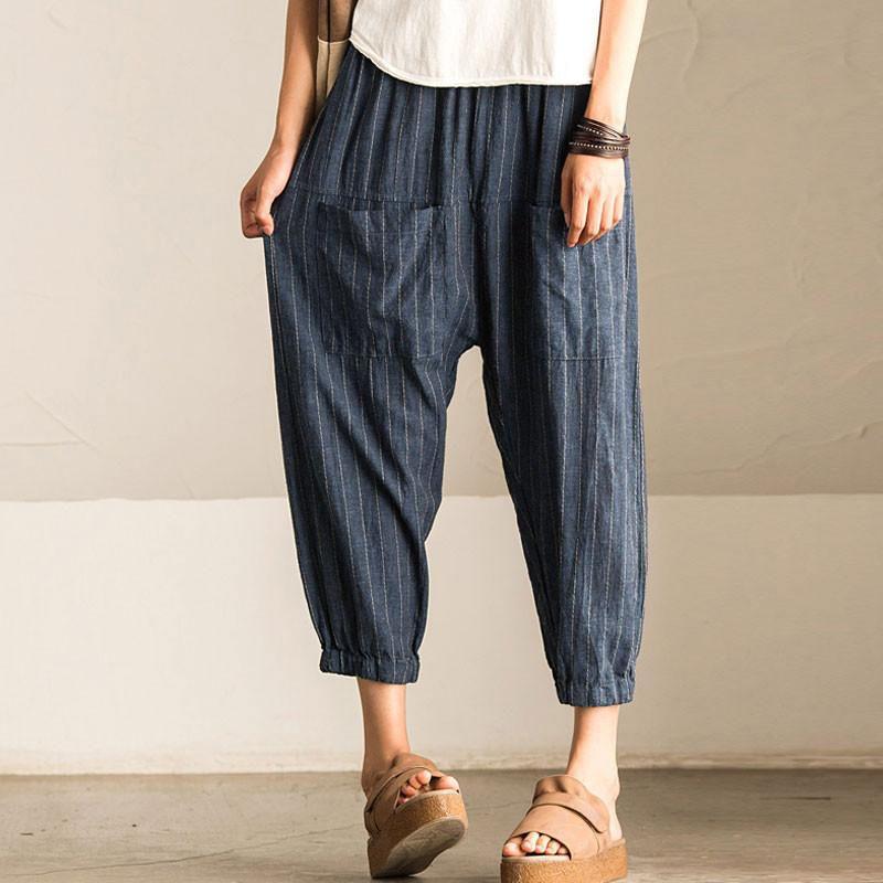 2018 ZANZEA Femmes Casual Vintage Haute Taille Élastique Poches Rayé Baggy Harem Pantalon Navet Pantalon Travail OL Large Jambe Pantalon