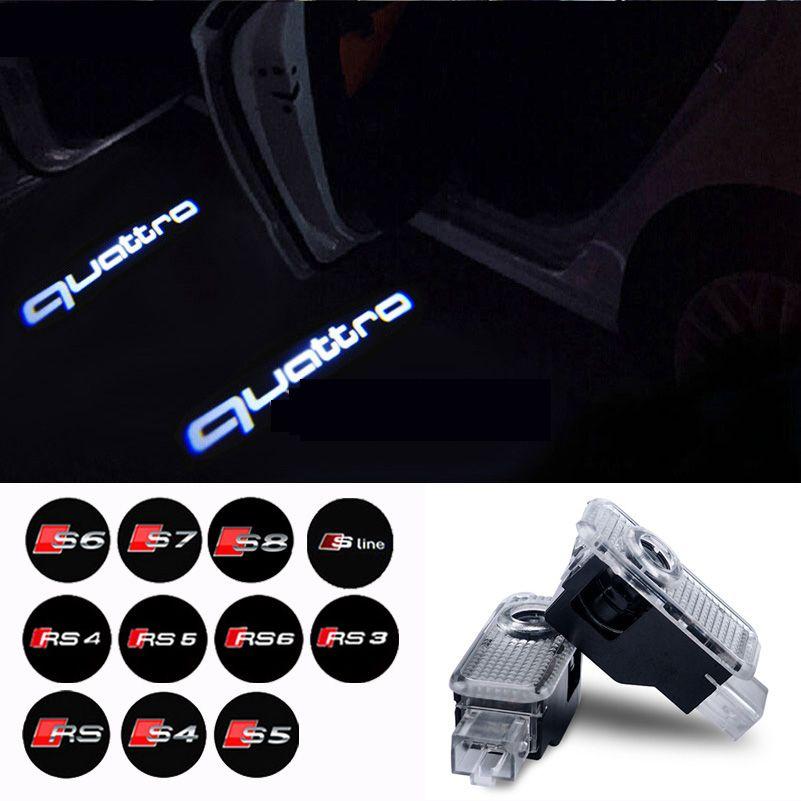 Car Door Welcome Light Logo Projector For Audi A3 A4 B6 B8 B5 A6 C5 C6 TT Q5 Q7 Q3 A5 A8 A7 A1 R8 8P 8L 8V R8 RS S line Quattro