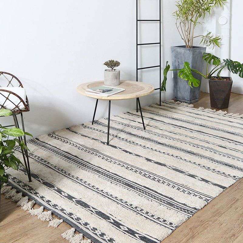 European style thicken cotton handmade bedside carpet , living room coffee table carpet, big size Nordic decoration ground mat