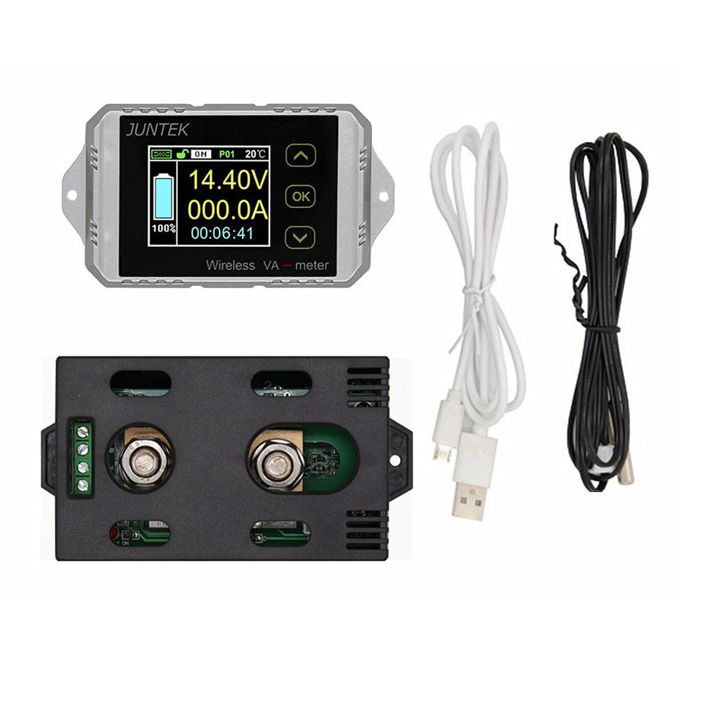 100% Original JUNTEK Wireless Digital Display Voltmeter Ammeter Multifunction LED Measure Bi-directional Volt Ammeter