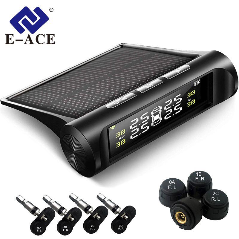 E-ACE K01/K02 système d'alarme de pression des pneus de sécurité de voiture solaire affichage numérique voiture intelligente TPMS système de surveillance de la pression des pneus