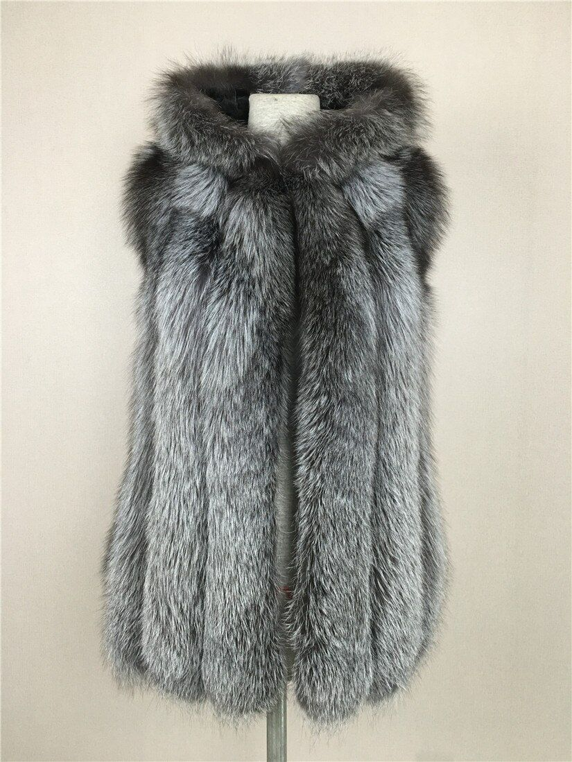 LIYAFUR Women's 100% Real Genuine Full Pelt Silver Fox Fur Long Hood Sleeveless Vest Hooded Waistcoat Gilet Plus Size Women