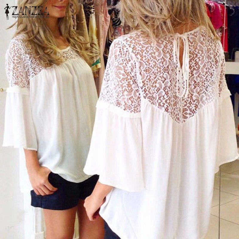 Élégant couverture en dentelle femmes d'été Blouse ZANZEA 2019 mode mousseline de soie Patchwork Blusas femmes Flare manches chemises tunique surdimensionnée