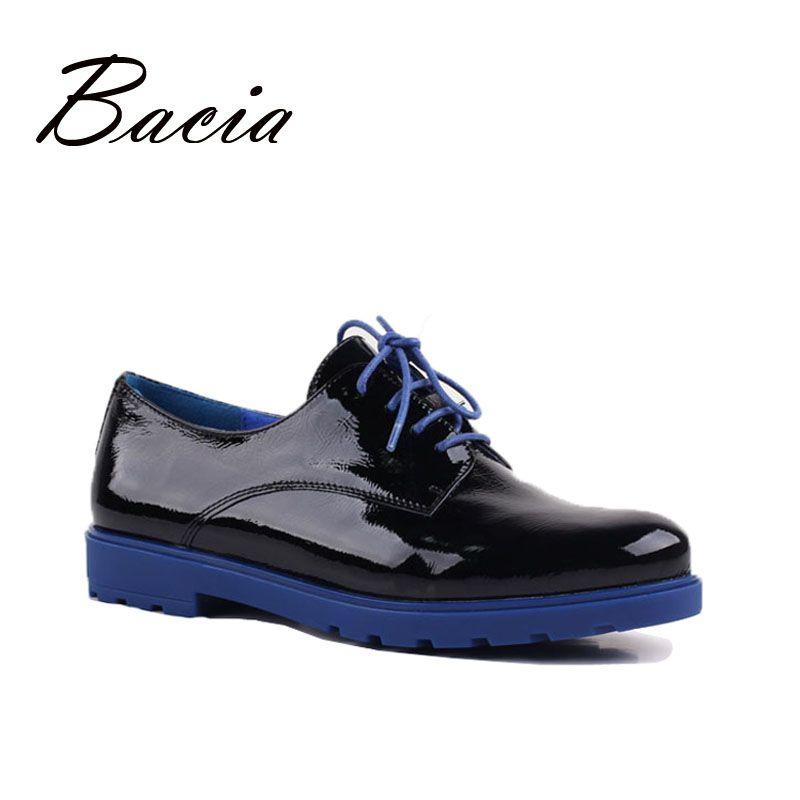 Bacia de Calidad Mujeres Pisos de Cuero Genuino con cordones Zapatos Para la Primavera Otoño Hecha A Mano de Gran Tamaño Zapatos Calzado Casual Wear VE009