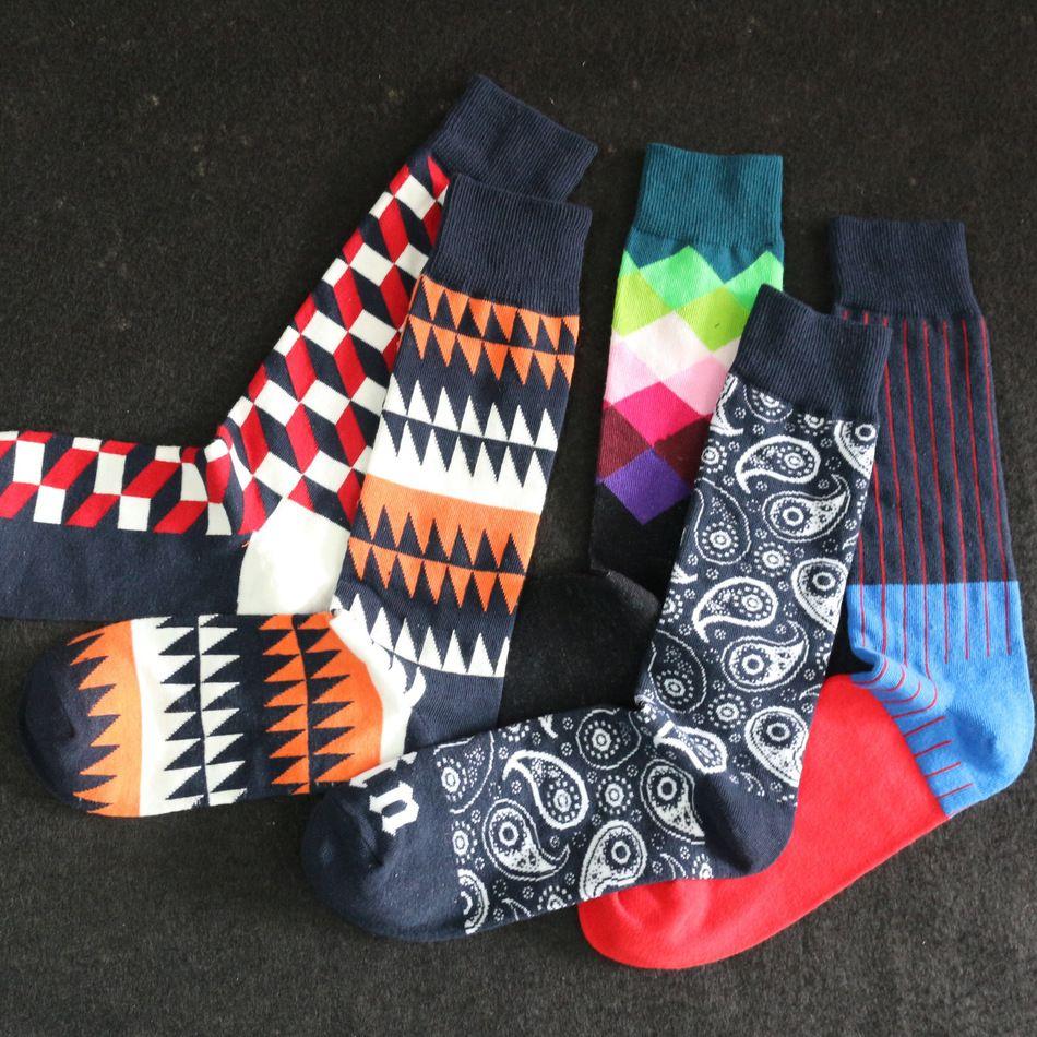 5 Par/lote multicolor hombres calcetines de Los Hombres de color colorido Rombo calcetines de algodón peinado calcetines de algodón de alta calidad al por mayor caliente de los hombres