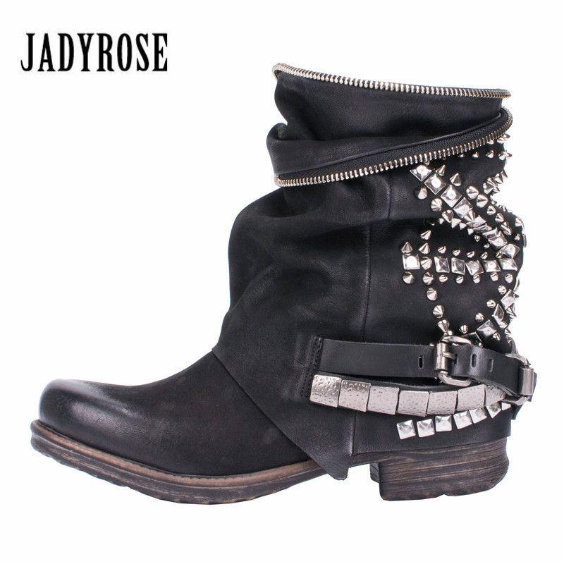 Jady Rose Retro Voller Nieten Besetzt Stiefeletten für Frauen Herbst Winter Martin Stiefel Aus Echtem Leder Gummi Flache Damen Schuhe