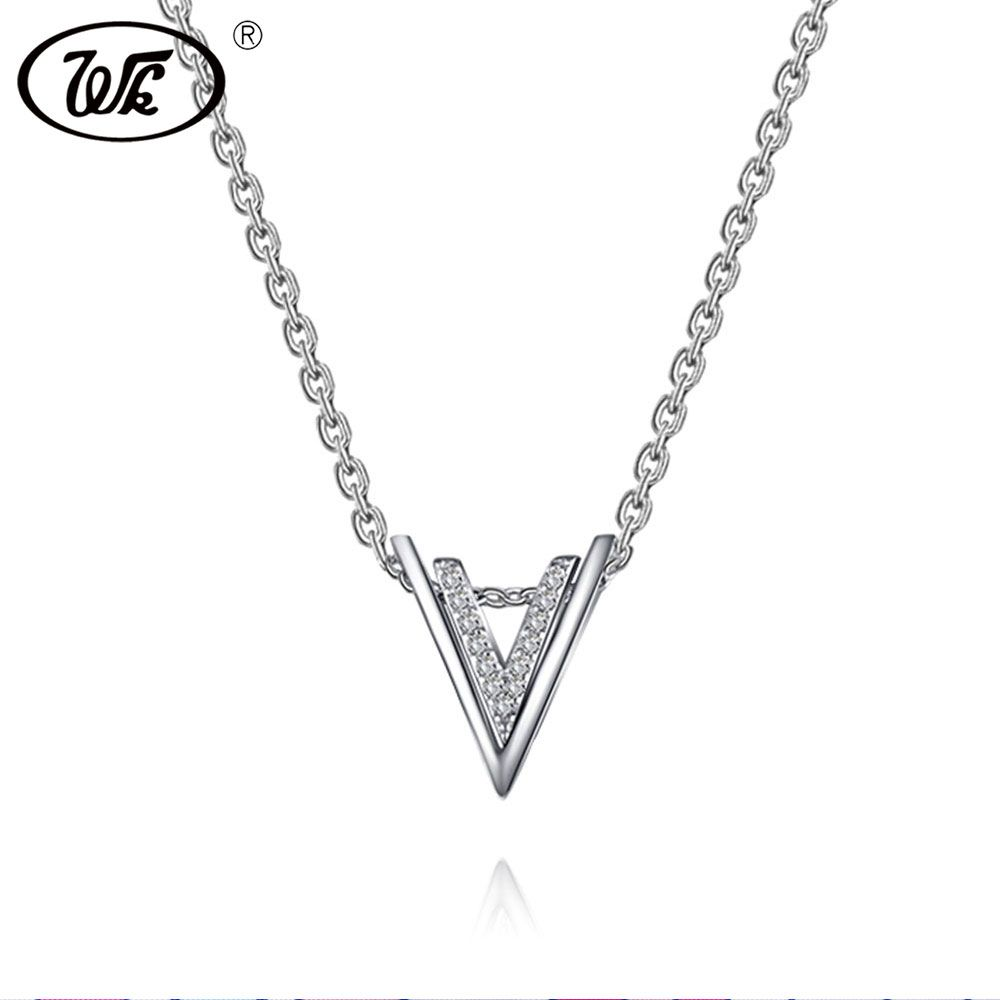 WK Real 925 Sterling Silver Double Letter V Necklace Gemetric Triangle V Necklaces & Pendants Simple Collier Collares Z9 NB065