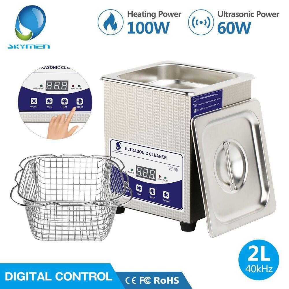 SKYMEN Digital 2L Ultraschall Reiniger mit Degas Heizung Timer Bad 60 W Ultraschall Maschine Dental Uhren Gläser Münzen Werkzeug Teil