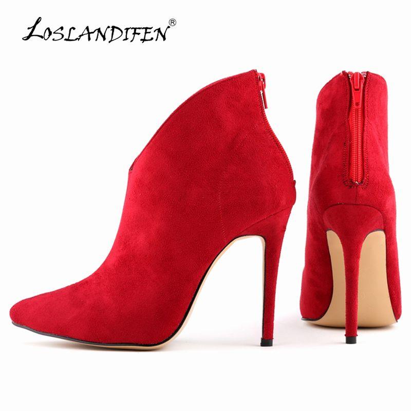 LOSLANDIFEN Flock Zipper Femmes Bottes Velours Sexy Bout Pointu Talons hauts Chaussures Hiver Stiletto Cheville Bottes Taille 35-42 769-1VE