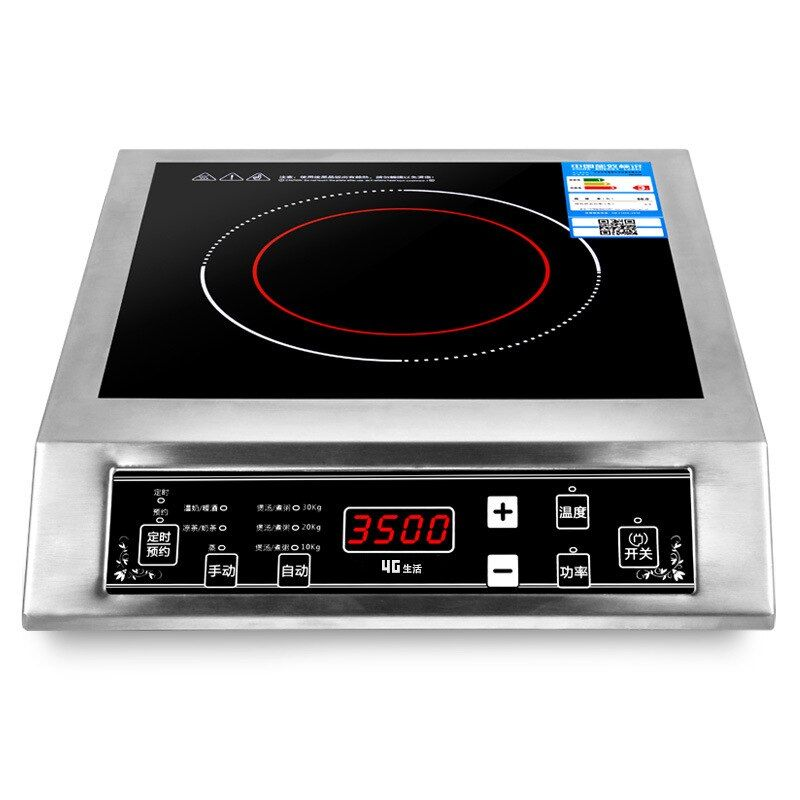 3500 W Stainless Steel Induction Cooker Black Crystal Panel Scheduled Appointment Waterproof Intelligent Temperature Regulation
