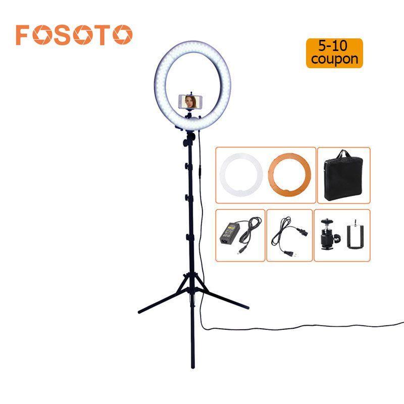 Fosoto rl-18 55 Вт 5500 К 240 светодиодный Фотовспышки затемнения Камера фото/Studio/телефон фотографии кольцо свет лампы и штатив Стенд