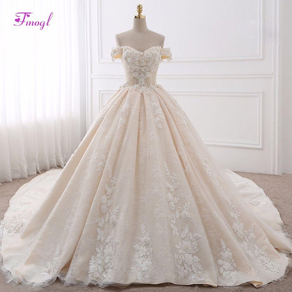 Vestido de Noiva Appliques Lace Royal Train Princess Wedding Dress 2018 Luxury Pearls Flowers Boat Neck Ball Gown Bridal Dress
