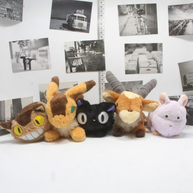 Ghibli Miyazaki Hayao Authentic Totoro Cat bus Kiki Mononoke Spirited Away Funwari Otedama Teto Fox Stuffed Plush Toy Gift