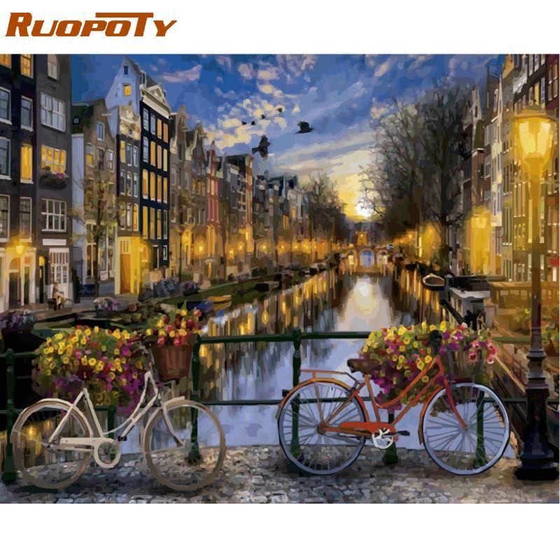 Cadre RUOPOTY Amsterdam bricolage peinture à l'huile par numéro paysage calligraphie peinture acrylique peinture sur toile pour décor à la maison œuvre