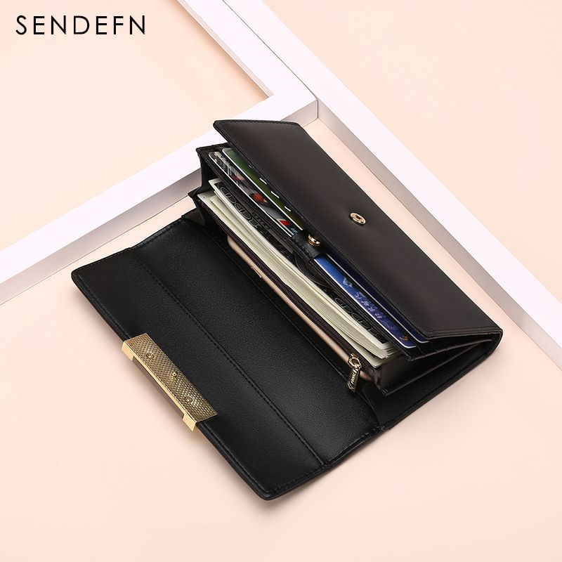 Hot Sale Fashion Split Leather Long Fashion Wallet Women Wallets Designer Brand Clutch Purse Lady Wallet Female Card Holder