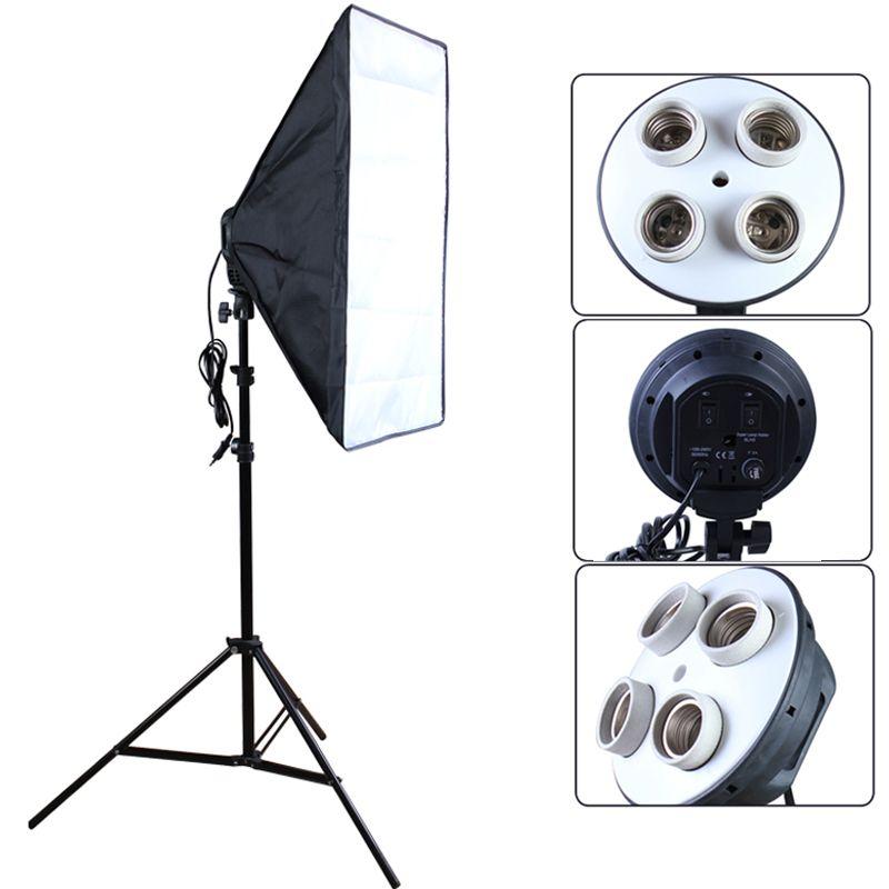 Photo studio 50*70 cm Softbox 100-240 V boîte d'éclairage E27 4-Lampe-Titulaire Soft Box avec 2 m pied de projecteur photographie Kit