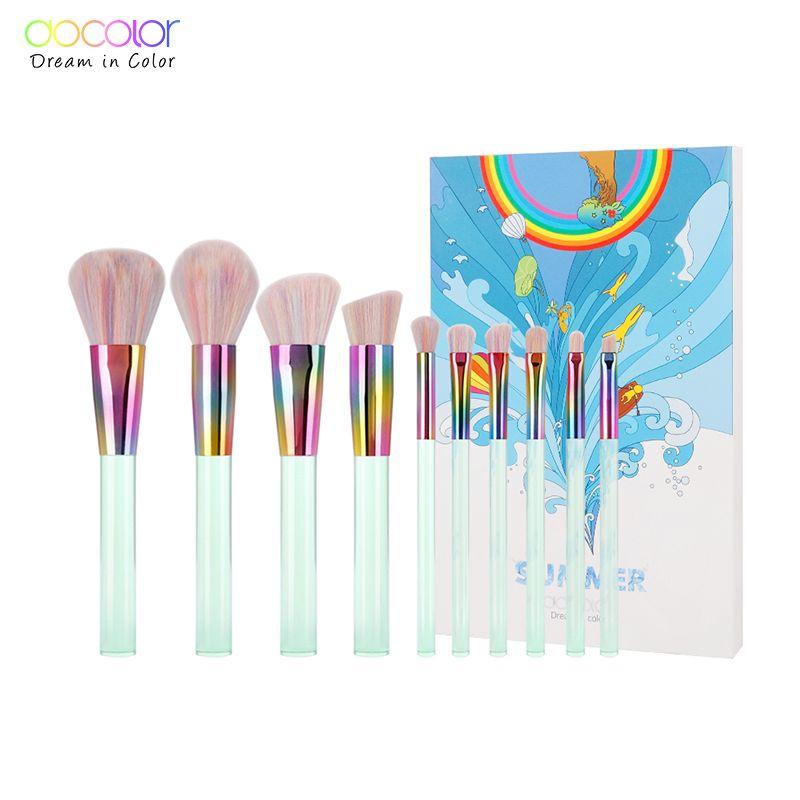 Docolor Nouveau 10 pcs Maquillage brosses Ensemble Vert Clair Transparent Poignées avec Colorés Poils Pinceaux de Maquillage Super Doux Cheveux