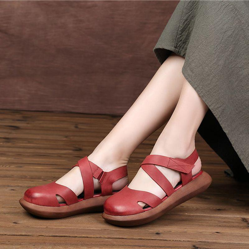Mori fille Style femmes chaussures plates bout fermé en cuir véritable fait à la main plate-forme chaussures femme bout rond Mary Jane chaussures femmes