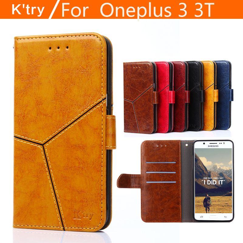 Oneplus 3 3 T couverture de cas de secousse en cuir d'origine k'try transparent silicone TPU de luxe Un plus 3 3 T cas et couvre dur fundas