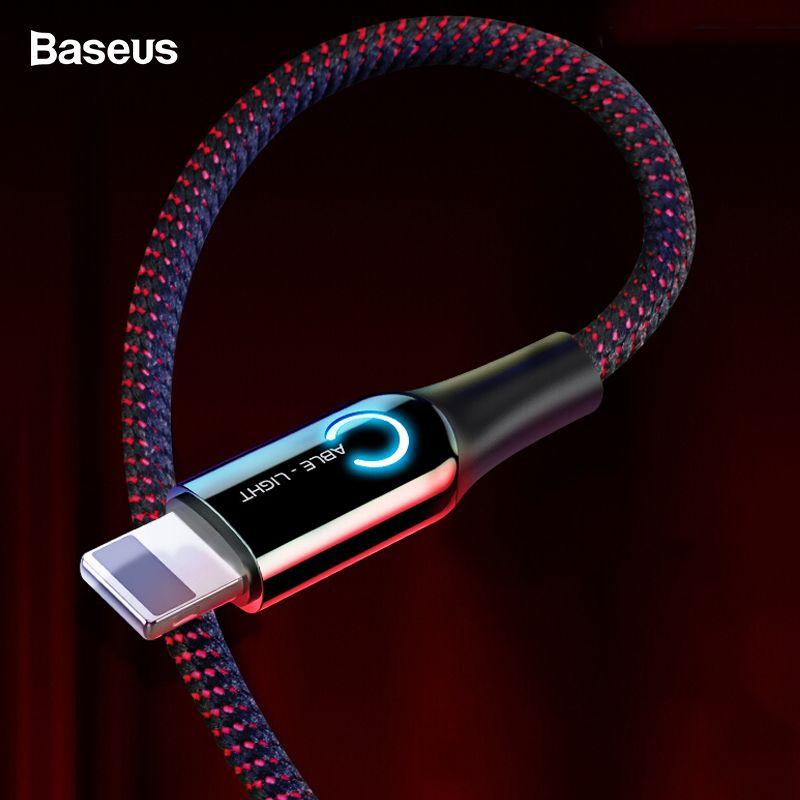 Baseus Déconnexion Automatique USB Câble Pour iPhone X Xs Max Xr 8 7 6 2.4A Charge Rapide Chargeur Data Sync câble LED Éclairage USB Cordon