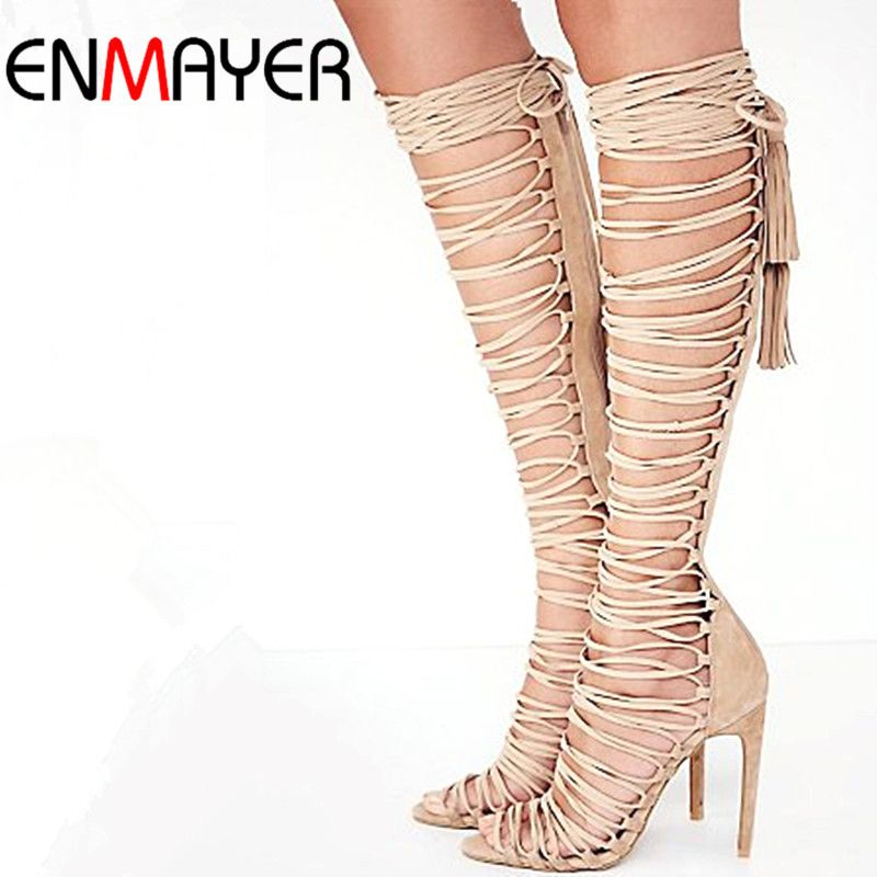 ENMAYER grande taille 34-43 nouveau Sexy genou haut gladiateur sandales talons hauts à lacets en daim bottes d'été talons fins chaussures de danse de fête