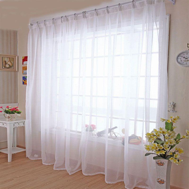Cuisine Tulle rideaux Translucidus moderne maison fenêtre décoration blanc pure Voile rideaux pour salon simple panneau B502