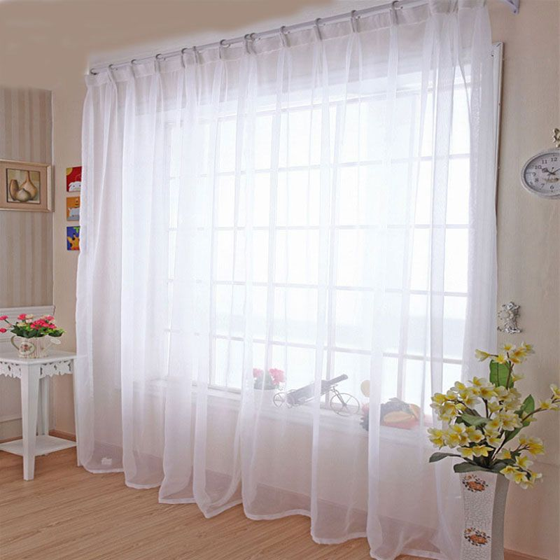 Kitchen Tulle Curtains Translucidus Modern Home Window Decoration White Sheer Voile Curtains for Living Room Single Panel B502