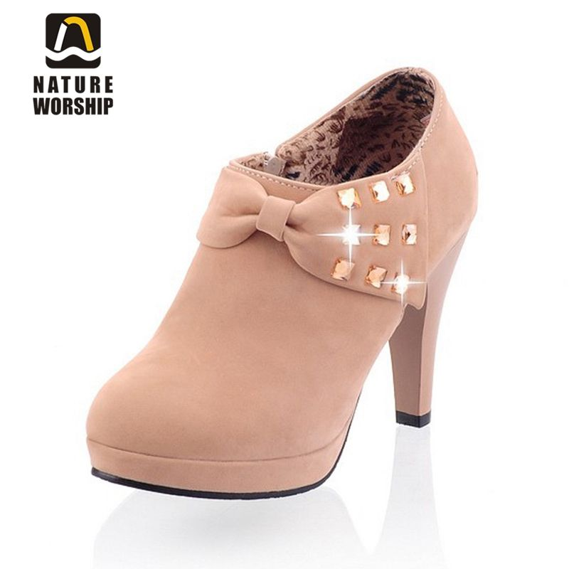 Nubuck cuir femmes bottes mode strass noeud papillon bout rond haut talons fins bottines solides pompes hiver Mary Jane bottes