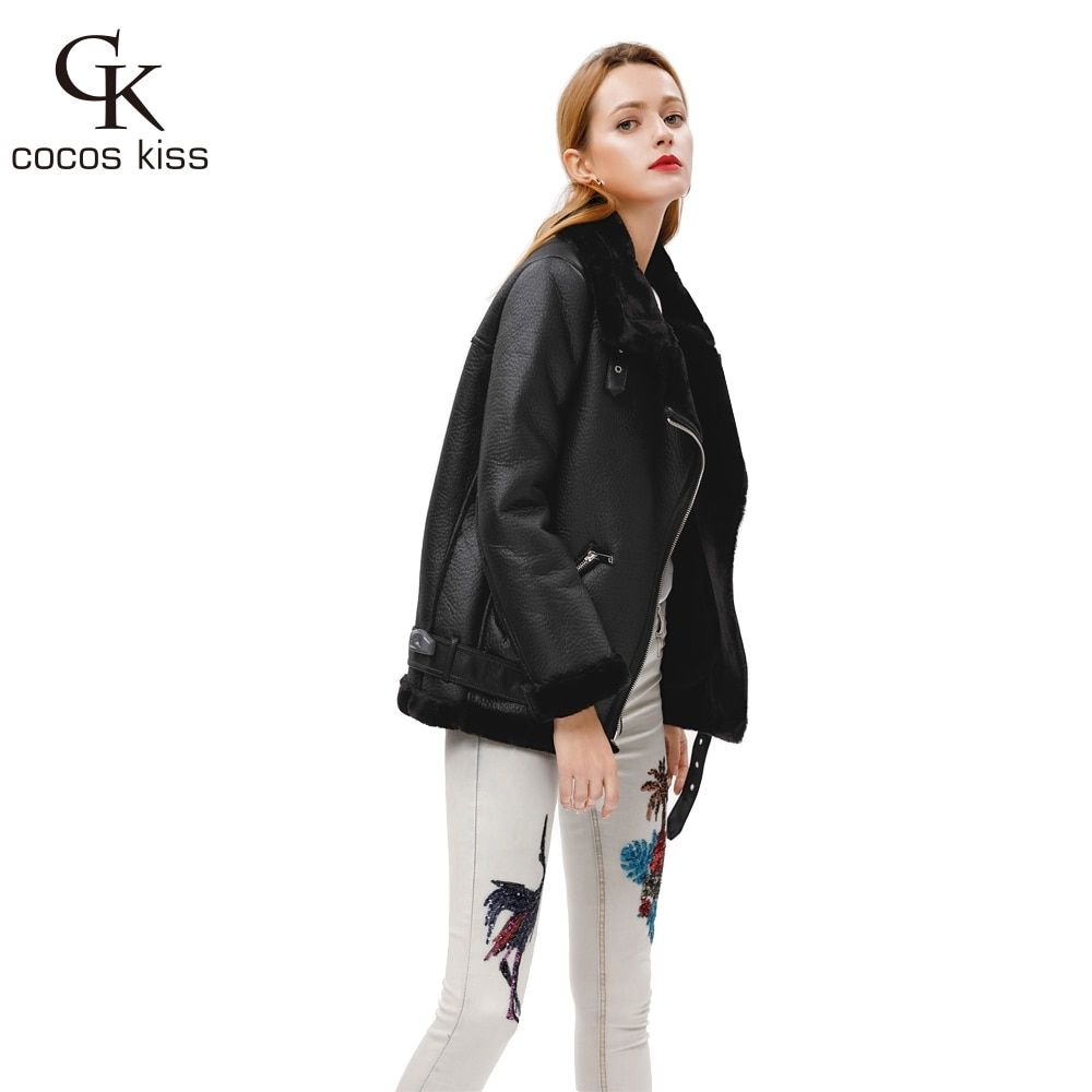 2018 New Winter Fashion High Quality Artificial Fur Zipper Coat Pockets Warm <font><b>Couples</b></font> Sashes Leather Jackets Woman