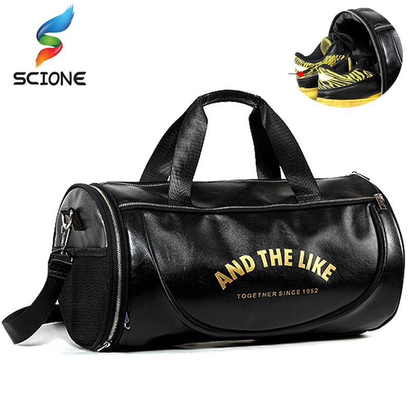 2018 Top PU Outdoor Sports Gym Bag Men Women with Shoes Storage Training Fitness Multifunction Shoulder Bags Travel Yoga HandBag