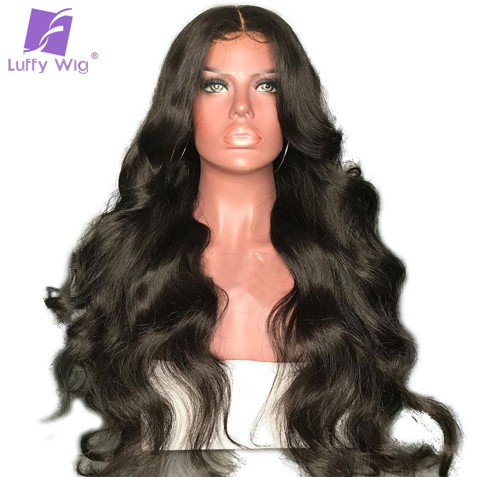 Luffy Body Wave 5x4.5 Silk Base Full Lace Human Hair Wigs With Baby Hair Brazilian Non Remy Pre Plucked Hairline 130% Density