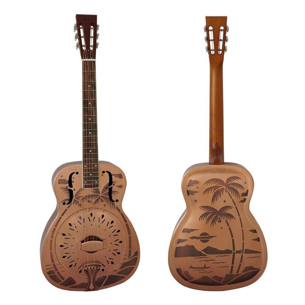 Aiersi Marke Roten Rost Sandgestrahlt Glocke Messing Blues Resonator gitarre Freies Fall und Gurt