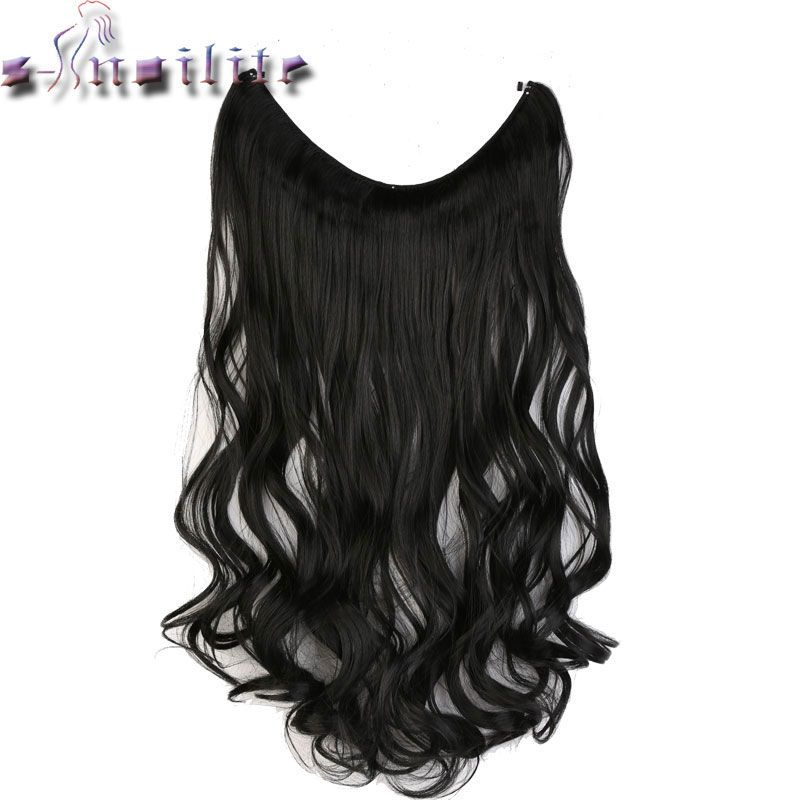 S-noilite 51CM Women Fish Line Hair Extensions Black Brown Blonde Natural Wavy Long High Tempreture Fiber Synthetic Hairpiece