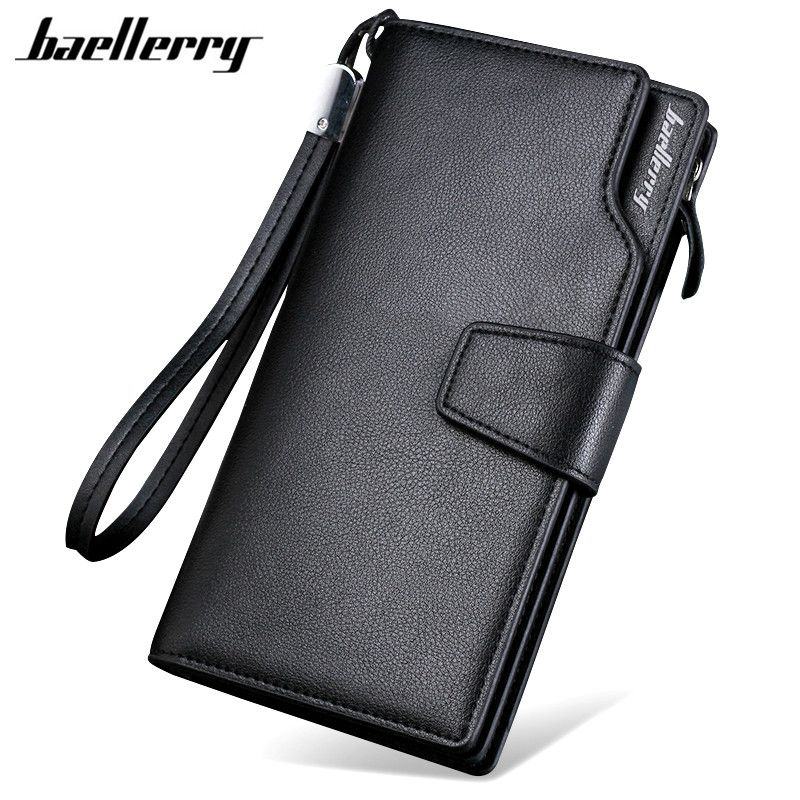 Baellerry 2017 marque de luxe hommes portefeuilles Long hommes sac à main portefeuille homme embrayage en cuir fermeture à glissière portefeuille hommes d'affaires homme portefeuille pièce