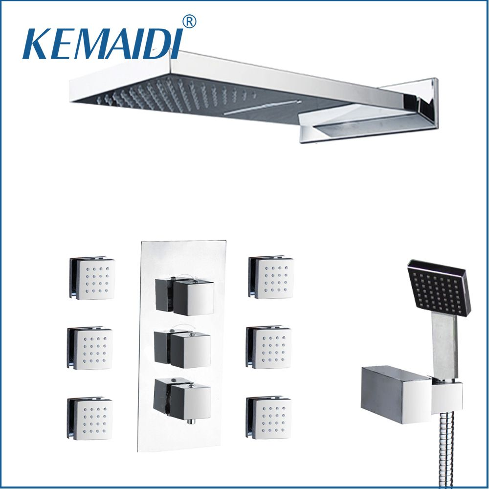 KEMAIDI US Rainfall Shower Head Wall Mounted Square Style Brass Waterfall Shower Set New Bathroom Shower With Handle Spray Set