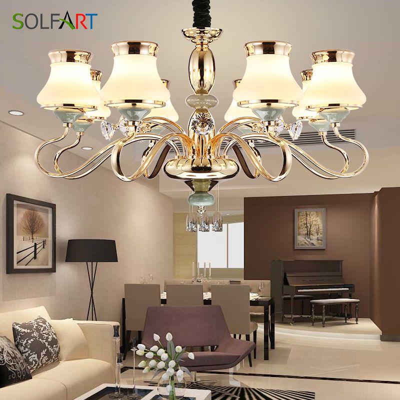 SOLFART Lamp Chandelier lighting for bedroom Living Room Pendant Glass Shade Champagne led chandeliers light TJ6655