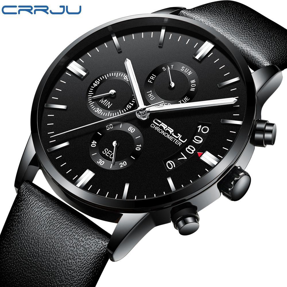 CRRJU2222 Function Leather Men Wrist Watch Luxury Brand Water Resistant Chronograph Man Clock Sport Mens Watches Erkek Kol Saati