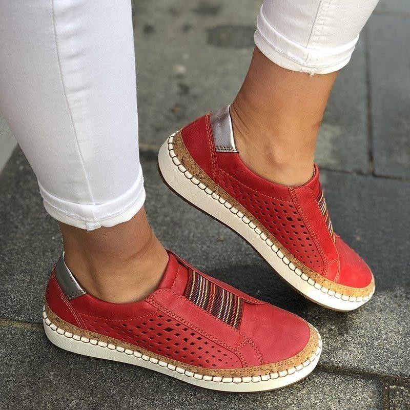 Évider chaussures pour femmes cousu à la main rayé respirant bande élastique rétro décontracté plat adapté pour les jambes larges femmes Sneaker